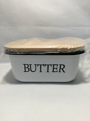 Farmhouse Enamel Butter Dish - Butter Boat with Beechwood Lid, White