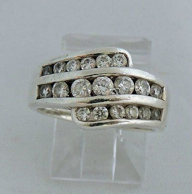 Beautiful Estate Sterling Silver Cubic Zirconia Cocktail Band Ring Size 6