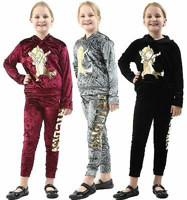 Kids Velour Jogging 2 Piece Tracksuit Girls Crushed Velvet Unicorn Lounge Wear