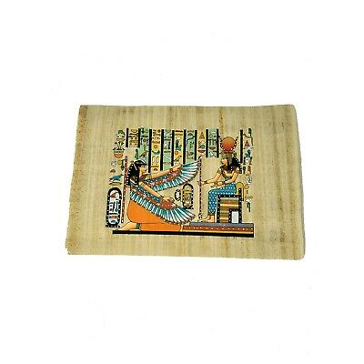 20x30cm Hand-Painted Ancient Egyptian Goddess Ma'at & Isis Papyrus Painting