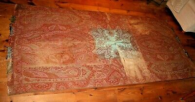"ANTIQUE PAISLEY Kashmir WOOL SHAWL Mid 19th C Turquoise Center 122"" x 57"" As Is"