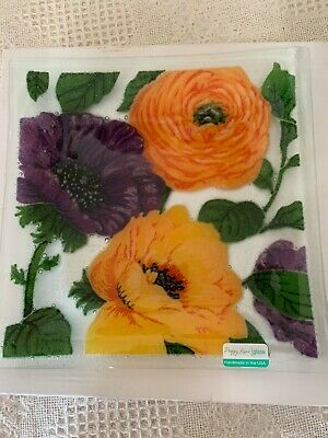 """Peggy Karr Glass 10"""" Square  Vintage Floral-Made In The Usa"""