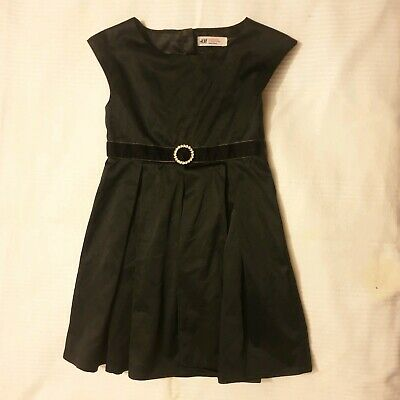 H&M Girls Lined Party Dress Black 4-5 Years