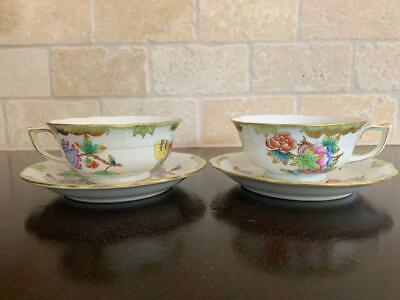 **Set of Footed Teacups**  #734 Herend Queen Victoria VBO China Tea Cup Set A