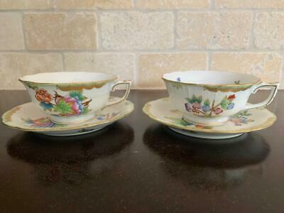 **Footed Teacups & Saucers #734 ** Herend Queen Victoria VBO Tea Cup Set B
