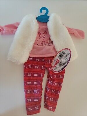 "My Life As Doll Pink  fox outfit with vest  -New  Fits American doll 18""- 3pc"