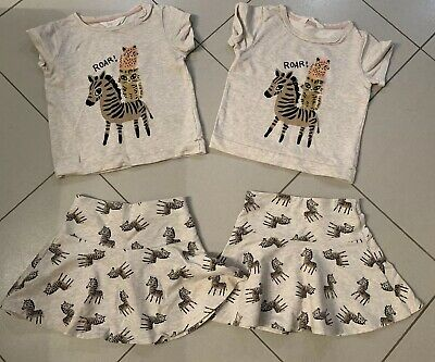 Lovely Outfit Set Beige Zebra Cheetah Wild Cat Girls Top & Skirt 6-8y twins 2ava