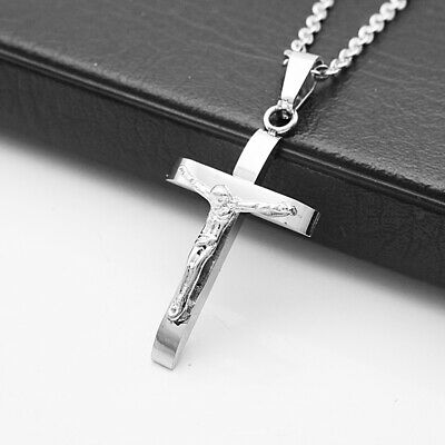Stainless Steel Catholic Crucifix Jesus Cross Pendant Necklace Silver#2