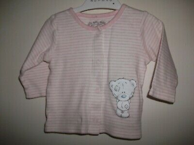 Tiny Tatty Teddy Baby Girls Pinik & White Striped Top - Age 0-3 Months