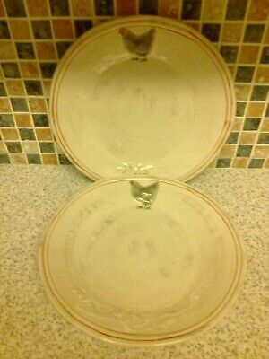 """2 X Dinner Plates 9.5"""" Embossed Chicken Design Red Lines"""