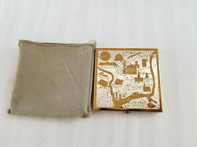 Vintage Wadsworth Philadelphia Etched Powder Compact W/Mirror Made In U.s.a.