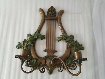 Vintage Antique Solid Brass Lyre Harp Wall Sconce Candlesticks Holder