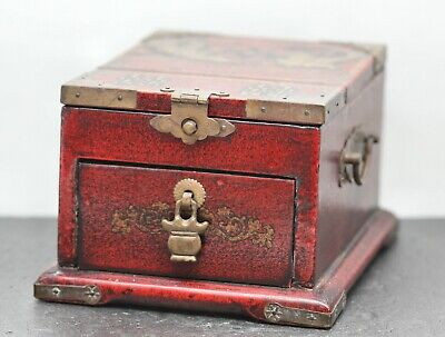 Attractive Vintage Chinese Lacquered Wooden Makeup Box Brass Mount Fittings