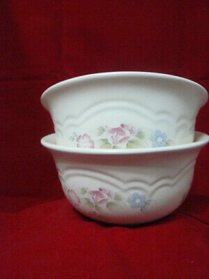 Set Of 2 Pfaltzgraff Tea Rose Cereal / Soup Bowls Flared Edge