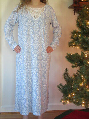 Charter Club Womens Nightgown Long Sleeve Blue Brushed Knit Gown L XL XXL