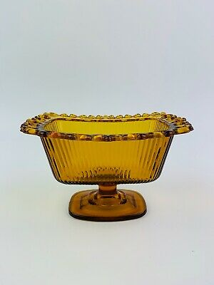 1981 FTDA Amber Candy Bowl Ridged Glass Lace Edge Pedestal Footed Dish