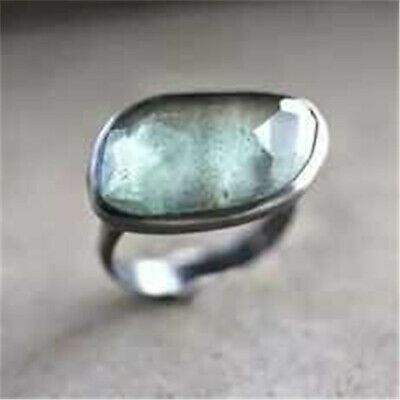 Women Fashion 925 Silver Aquamarine Ring Party Gift Wedding Jewelry Size 6-10