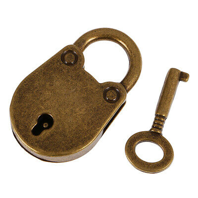 Antique Lock/Padlock Metal Plating with 6 Keys Retro Travel Luggage -Bronze