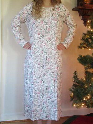Charter Club Womens Nightgown Pink/Grey Long Brushed Knit Gown Large XL XXL NEW