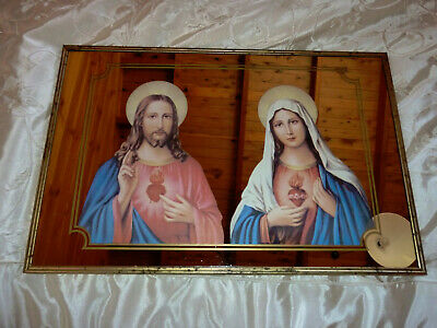 Vintage Religious Mirror with picture - made in Japan retro- Mary & Jesus
