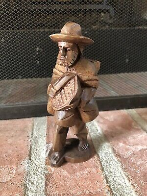 Unique Vintage Hand Carved Wood Statue light weight (MAN CARRYING BOWL AND BAGS)
