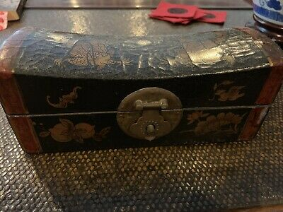Chinese Antique Rare Lacquered Gilt Leather Pillow Box