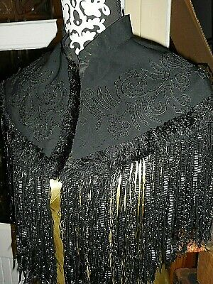 Early 20th Century embroidered Black silk ladies collar or shoulder wrap.
