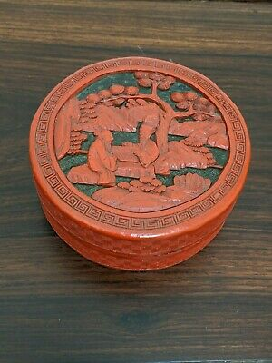Antique Chinese Cinnabar Round Box Carved Red Lacquer two wise man play go
