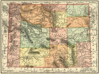 Wyoming Map: Authentic 1895 (Dated) showing Towns, Counties, Railroads & More