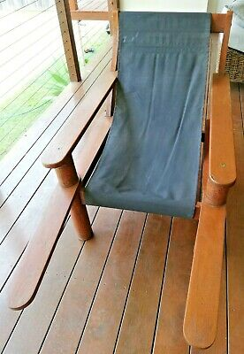 Silky Oak Squatters Chair with black canvas cover