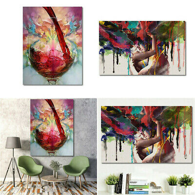 60*90CM Abstract Red Wine Glass Couple Oil Painting Canvas Printed Home Decor