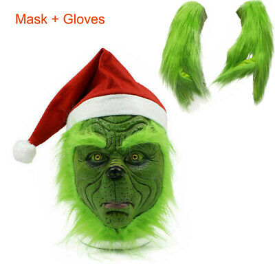 The Grinch Full Head Adult Costume Cosplay Latex Mask + Xmas Hat + Plush Glove