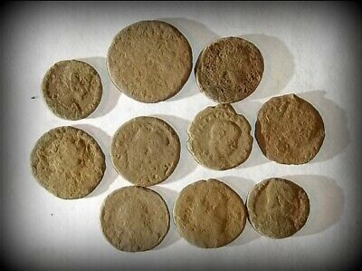 10 ANCIENT ROMAN COINS AE3 - Uncleaned and As Found! - Unique Lot 31415