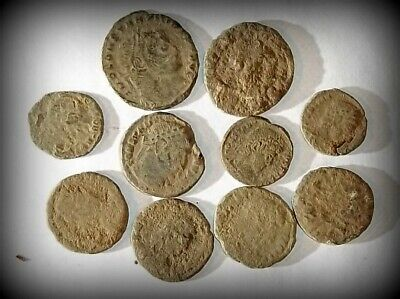 10 ANCIENT ROMAN COINS AE3 - Uncleaned and As Found! - Unique Lot 31417