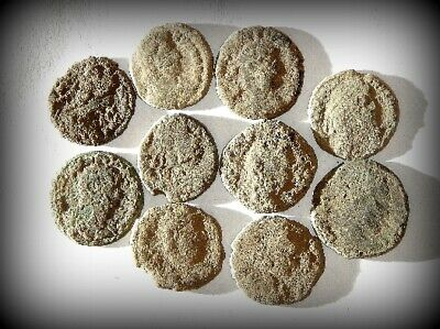 10 ANCIENT ROMAN COINS AE3 - Uncleaned and As Found! - Unique Lot 31418