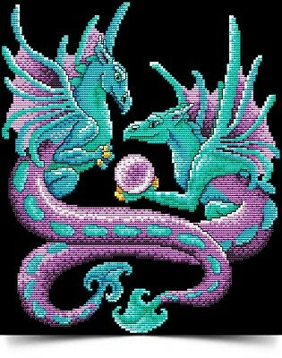 Dragon Duo with Orb Cross Stitch Charts