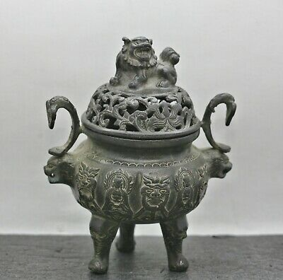 Magnificent Antique Chinese Solid Bronze Footed Censer Circa Early 1900s