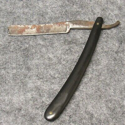 "Wade & Butcher Sheffield 6-3/8"" Straight Razor Black Celluloid Handles Antique"