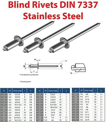 Pop Blind Rivets Stainless Steel Dome Head Type A DIN 7337 3, 3.2, 4, 4.8, 5mm
