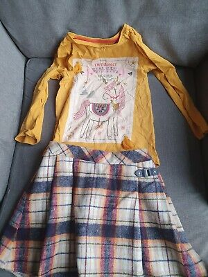 Girls Tartan Kilt And Matching Unicorn Top Outfit Autumnal Mustard Age 5-6