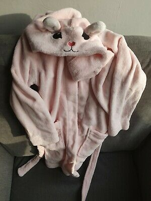 Girls Pink Rabbit Style fluffy soft Dressing Gown Age 4-6 H&M