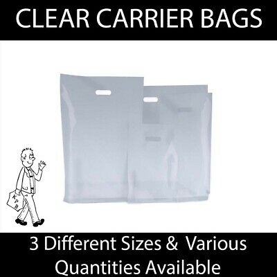 Clear Plastic Carrier Bag Punch Handle Varigauge Gift Retail Boutique Fashion