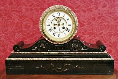 Antique 19th Century French S. Marti Slate & Marble Open Escapement Mantel Clock