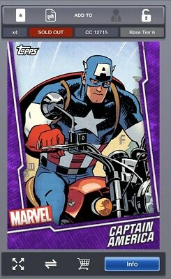 Topps MARVEL COLLECT DIGITAL Card TIER 6 PURPLE Captain America