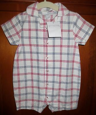 NWT Boys 3-6 months THE LITTLE WHITE COMPANY London Check Woven Shortall Romper