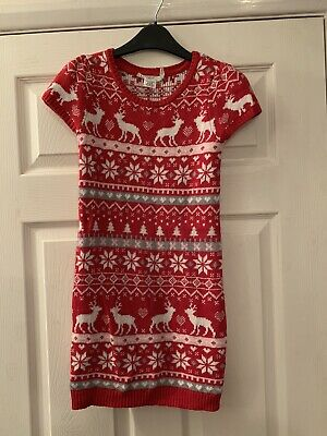 Girls Knitted Jumper Dress. Red And White. Worn Once. H&M. Age 8-10. Christmas