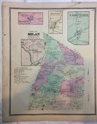 Town of Milan, Dutchess County, NY 1867 Lithograph by F.W. Beers