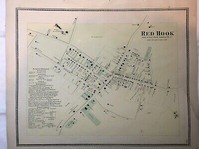 Town of Red Hook, Dutchess County, NY 1867 Lithograph by F.W. Beers