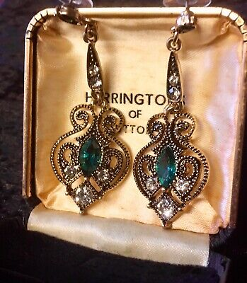 Large Ornate Antique Gold Tone Baroque Style Earrings