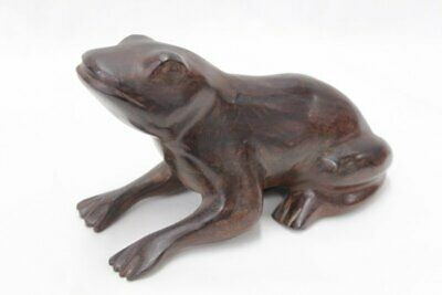 Large hand carved wood Frog toad Heavy Hard wooden Signed